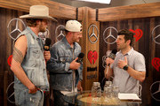 (EDITORIAL USE ONLY. NO COMMERCIAL USE) (L-R) Brian Kelley and Tyler Hubbard of Florida Georgia Line and Steve Wazz are seen backstage at the 2019 iHeartCountry Festival Presented by Capital One at the Frank Erwin Center on May 4, 2019 in Austin, Texas.