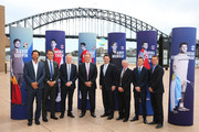 (L-R) Pat Rafter, Ross Hutchins ATP Cup Managing Director and Chief Player Officer, Craig Tiley  Tennis Australia CEO, John Newcombe, The Hon. Stuart Ayres MP NSW Minister for Tourism, Ken Rosewall, Tom Larner Tennis Australia COO and Lleyton Hewitt pose during the 2020 ATP Cup Draw at The Sydney Opera House on September 16, 2019 in Sydney, Australia.