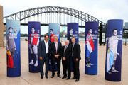 (L-R) Pat Rafter, John Newcombe, Ken Rosewall and Lleyton Hewitt pose during the 2020 ATP Cup Draw at The Sydney Opera House on September 16, 2019 in Sydney, Australia.