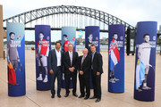 Pat Rafter, John Newcombe, Ken Rosewall and Lleyton Hewitt pose during the 2020 ATP Cup Draw at The Sydney Opera House on September 16, 2019 in Sydney, Australia.