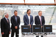 (L-R) Ken Rosewall, Lleyton Hewitt, Pat Rafter and John Newcombe during the 2020 ATP Cup Draw at The Sydney Opera House on September 16, 2019 in Sydney, Australia.