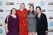 (L-R) Athena Film Festival co-founder Melissa Silverstein, Greta Gerwig, Beanie Feldstein and Athena Film Festival co-founder Kathryn Kolbert attend the 2020 Athena Film Festival awards ceremony at The Diana Center at Barnard College on February 26, 2020 in New York City.