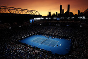 A general view of Rod Laver Arena during the Men's Semifinal match between Roger Federer of Switzerland and Novak Djokovic of Serbia on day eleven of the 2020 Australian Open at Melbourne Park on January 30, 2020 in Melbourne, Australia.