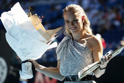 Caroline Wozniacki poses during the women's day ceremony on Rod Laver Arena on day eleven of the 2020 Australian Open at Melbourne Park on January 30, 2020 in Melbourne, Australia.