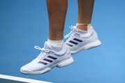 Detail of Caroline Wozniacki of Denmark shoes as she serves during her Women's Singles second round match against Dayana Yastremska of Ukraine on day three of the 2020 Australian Open at Melbourne Park on January 22, 2020 in Melbourne, Australia.