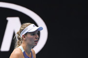 Caroline Wozniacki of Denmark celebrates after winning a point during her Women's Singles second round match against Dayana Yastremska of Ukraine on day three of the 2020 Australian Open at Melbourne Park on January 22, 2020 in Melbourne, Australia.