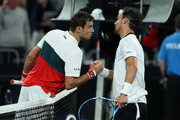 Fabio Fognini of Italy shakes hands at the net after his straight set victory in his Men's Singles third round match against Guido Pella of Argentina on day five of the 2020 Australian Open at Melbourne Park on January 24, 2020 in Melbourne, Australia.