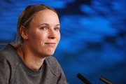 Caroline Wozniacki of Denmark speaks to media during an interview following her Women's Singles third round defeat to Ons Jabeur of Tunisia on day five of the 2020 Australian Open at Melbourne Park on January 24, 2020 in Melbourne, Australia.