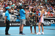Caroline Wozniacki of Denmark is interviewed after her Women's Singles third round match against Ons Jabeur of Tunisia on day five of the 2020 Australian Open at Melbourne Park on January 24, 2020 in Melbourne, Australia.
