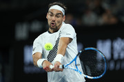Fabio Fognini of Italy plays a backhand during his Men's Singles third round match against Guido Pella of Argentina on day five of the 2020 Australian Open at Melbourne Park on January 24, 2020 in Melbourne, Australia.