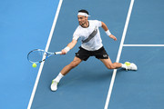 Fabio Fognini of Italy plays a forehand during his Men's Singles fourth round match against Tennys Sandgren of the United States on day seven of the 2020 Australian Open at Melbourne Park on January 26, 2020 in Melbourne, Australia.