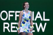 Petra Kvitova of Czech Republic waits for an official review during her Women's Singles Quarterfinal match against Ashleigh Barty of Australia on day nine of the 2020 Australian Open at Melbourne Park on January 28, 2020 in Melbourne, Australia.