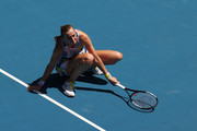 Petra Kvitova of Czech Republic reacts after playing a shot during her Women's Singles Quarterfinal match against Ashleigh Barty of Australia on day nine of the 2020 Australian Open at Melbourne Park on January 28, 2020 in Melbourne, Australia.