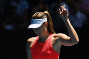 Maria Sharapova of Russia challenges a line call during her Women's Singles first round match against Donna Vekic of Croatia on day two of the 2020 Australian Open at Melbourne Park on January 21, 2020 in Melbourne, Australia.