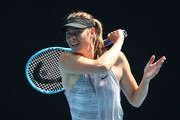 Maria Sharapova of Russia practices ahead of the 2020 Australian Open at Melbourne Park on January 19, 2020 in Melbourne, Australia.