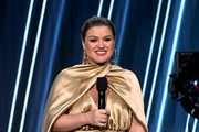 In this image released on October 14, Kelly Clarkson speaks onstage at the 2020 Billboard Music Awards, broadcast on October 14, 2020 at the Dolby Theatre in Los Angeles, CA.