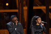 will.i.am (L) and Jessica Reynoso perform onstage during the 2020 Breakthrough Prize at NASA Ames Research Center on November 03, 2019 in Mountain View, California.