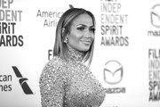Image has been converted to black and white.) Jennifer Lopez attends the 2020 Film Independent Spirit Awards on February 08, 2020 in Santa Monica, California.
