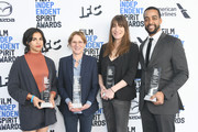 (L-R) Film Independent Spirit Awards grant winners Nadia Shihab, Kelly Reichardt, Mollye Asher and Rashaad Ernesto Green pose with their awards at the 2020 Film Independent Spirit Awards Nominees Brunch at BOA Steakhouse on January 04, 2020 in West Hollywood, California.