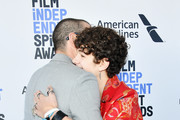 (L-R) Shia LaBeouf and Noah Jupe attend the 2020 Film Independent Spirit Awards on February 08, 2020 in Santa Monica, California.