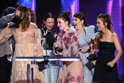 (L-R) Olivia Wilde, Katie Silberman, Kaitlyn Dever, Beanie Feldstein, and Billie Lourd accept the Best First Feature award for 'Booksmart' onstage during the 2020 Film Independent Spirit Awards on February 08, 2020 in Santa Monica, California.