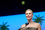 Charlize Theron accepts the International Star Award onstage during the 31st Annual Palm Springs International Film Festival Film Awards Gala at Palm Springs Convention Center on January 02, 2020 in Palm Springs, California.