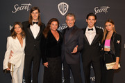 (L-R) Avery Wheless, Dylan Brosnan, Keely Brosnan, Pierce Brosnan, Paris Brosnan and Alex Lee Aillón attend The 2020 InStyle And Warner Bros. 77th Annual Golden Globe Awards Post-Party at The Beverly Hilton Hotel on January 05, 2020 in Beverly Hills, California.