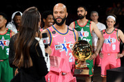 Common #25 of Team Wilbon receives the MVP trophy after the 2020 NBA All-Star Celebrity Game Presented By Ruffles at Wintrust Arena on February 14, 2020 in Chicago, Illinois. NOTE TO USER: User expressly acknowledges and agrees that, by downloading and or using this photograph, User is consenting to the terms and conditions of the Getty Images License Agreement.