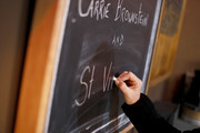 A view of the chalkboard at the 2020 Sundance Film Festival - Cinema Cafe With Carrie Brownstein And St. Vincent at Filmmaker Lodge on January 25, 2020 in Park City, Utah.