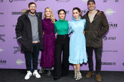 "(L-R) Andy Samberg, Meredith Hagner, Camila Mendes, Cristin Milioti, and Tyler Hoechlin attend the 2020 Sundance Film Festival - ""Palm Springs"" Premiere at Library Center Theater on January 26, 2020 in Park City, Utah."