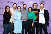"(L-R) Producer Becky Sloviter, Director Max Barbakow, Cristin Milioti, Andy Samberg, Camila Mendes, Screenwriter Andy Siara, and Producer Avika Schaffer attend the 2020 Sundance Film Festival - ""Palm Springs"" Premiere at Library Center Theater on January 26, 2020 in Park City, Utah."