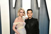 Lucy Boynton and Rami Malek attend the 2020 Vanity Fair Oscar Party hosted by Radhika Jones at Wallis Annenberg Center for the Performing Arts on February 09, 2020 in Beverly Hills, California.