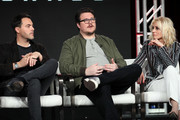 "(L-R) Jack Huston, Cameron Britton and Judith Light of ""Manhunt: Deadly Games"""" speak on stage during the Spectrum Originals/Lionsgate Television segment of the 2020 Winter TCA Tour at The Langham Huntington, Pasadena on January 18, 2020 in Pasadena, California."