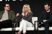 """(L-R) Cameron Britton, Judith Light and Gethin Anthony of """"Manhunt: Deadly Games"""""""" speak on stage during the Spectrum Originals/Lionsgate Television segment of the 2020 Winter TCA Tour at The Langham Huntington, Pasadena on January 18, 2020 in Pasadena, California."""