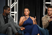 "(L-R) Sterling K. Brown, Susan Kelechi Watson and Justin Hartley of ""This Is Us"" speak during the NBCUniversal segment of the 2020 Winter TCA Press Tour at The Langham Huntington, Pasadena on January 11, 2020 in Pasadena, California."