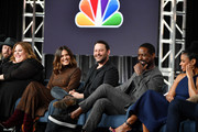 "(L-R) Chris Sullivan, Chrissy Metz, Mandy Moore, Dan Fogelman Sterling K. Brown and Susan Kelechi Watson of ""This Is Us"" speak during the NBCUniversal segment of the 2020 Winter TCA Press Tour at The Langham Huntington, Pasadena on January 11, 2020 in Pasadena, California."