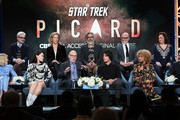 "(L-R) Alison Pill, Alex Kurtzman, Isa Briones, Heather Kadin, Sir Patrick Stewart, Michael Chabon, Evan Evagora, Akiva Goldsman, Michelle Hurd, Kirsten Beyer and Santiago Cabrera of ""Star Trek: Picard"" speak during the CBS All Access segment of the 2020 Winter TCA Tour at The Langham Huntington, Pasadena on January 12, 2020 in Pasadena, California."
