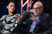 """Isa Briones and Sir Patrick Stewart of """"Star Trek: Picard"""" speak during the CBS All Access segment of the 2020 Winter TCA Tour at The Langham Huntington, Pasadena on January 12, 2020 in Pasadena, California."""