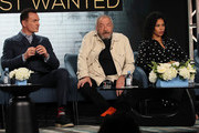 """(L-R) Julian McMahon, Dick Wolf and Roxy Sternberg of """"FBI: Most Wanted"""" speak during the CBS segment of the 2020 Winter TCA Press Tour at The Langham Huntington, Pasadena on January 12, 2020 in Pasadena, California."""
