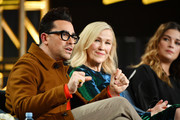 "(L-R) Daniel Levy, Catherine O'Hara and Annie Murphy of ""Schitt's Creek"" speak during the Pop TV segment of the 2020 Winter TCA Press Tour  at The Langham Huntington, Pasadena on January 13, 2020 in Pasadena, California."