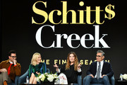 "(L-R) Daniel Levy, Catherine O'Hara, Annie Murphy and Eugene Levy of ""Schitt's Creek"" speak during the Pop TV segment of the 2020 Winter TCA Press Tour  at The Langham Huntington, Pasadena on January 13, 2020 in Pasadena, California."