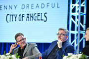 "(L-R) John Logan, Nathan Lane and Natalie Dormer of ""Penny Dreadful: City of Angels"" speak during the Showtime segment of the 2020 Winter TCA Press Tour  at The Langham Huntington, Pasadena on January 13, 2020 in Pasadena, California."