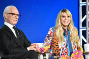 Tim Gunn and Heidi Klum of Amazon Prime's 'Making the Cut' speak onstage during the 2020 Winter TCA Tour Day 8 at The Langham Huntington, Pasadena on January 14, 2020 in Pasadena, California.