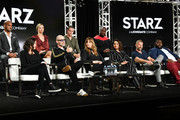 "(L-R, top row) Amaury Nolasco, Riley Voelkel, Shane Harper, Dohn Norwood (bottom row) Rachel Morrison, Gary Lennon, Rebecca Cutter, Monica Raymund, James Badge Dale and Atkins Estimond of ""Hightown"" speak during the Starz segment of the 2020 Winter TCA Press Tour at The Langham Huntington, Pasadena on January 14, 2020 in Pasadena, California."