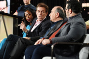"(L-R) Nikki Amuka-Bird, Hugh Laurie, executive producer Armando Iannucci and Josh Gad of ""Avenue 5"" speak during the HBO segment of the 2020 Winter TCA Press Tour at The Langham Huntington, Pasadena on January 15, 2020 in Pasadena, California."