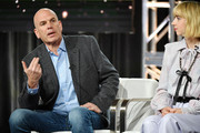 "David Simon and Zoe Kazan of ""The Plot Against America"" speak during the HBO segment of the 2020 Winter TCA Press Tour at The Langham Huntington, Pasadena on January 15, 2020 in Pasadena, California."