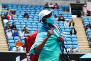 Venus Williams of The United States of America acknowledges the crowd as she walks off the court following victory in her Women's Singles first round match against Kirsten Flipkens of Belgium during day one of the 2021 Australian Open at Melbourne Park on February 08, 2021 in Melbourne, Australia.