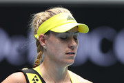 Angelique Kerber of Germany walks off the court following defeat in her Women's Singles first round match against Bernarda Pera of The United States of America during day one of the 2021 Australian Open at Melbourne Park on February 08, 2021 in Melbourne, Australia.