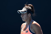 Heather Watson of Great Britain looks on in her Women's Singles first round match against Kristyna Pliskova of Czech Republic during day two of the 2021 Australian Open at Melbourne Park on February 09, 2021 in Melbourne, Australia.