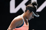 Heather Watson of Great Britain celebrates after winning a point in her Women's Singles second round match against Anett Kontaveit of Estonia during day four of the 2021 Australian Open at Melbourne Park on February 11, 2021 in Melbourne, Australia.